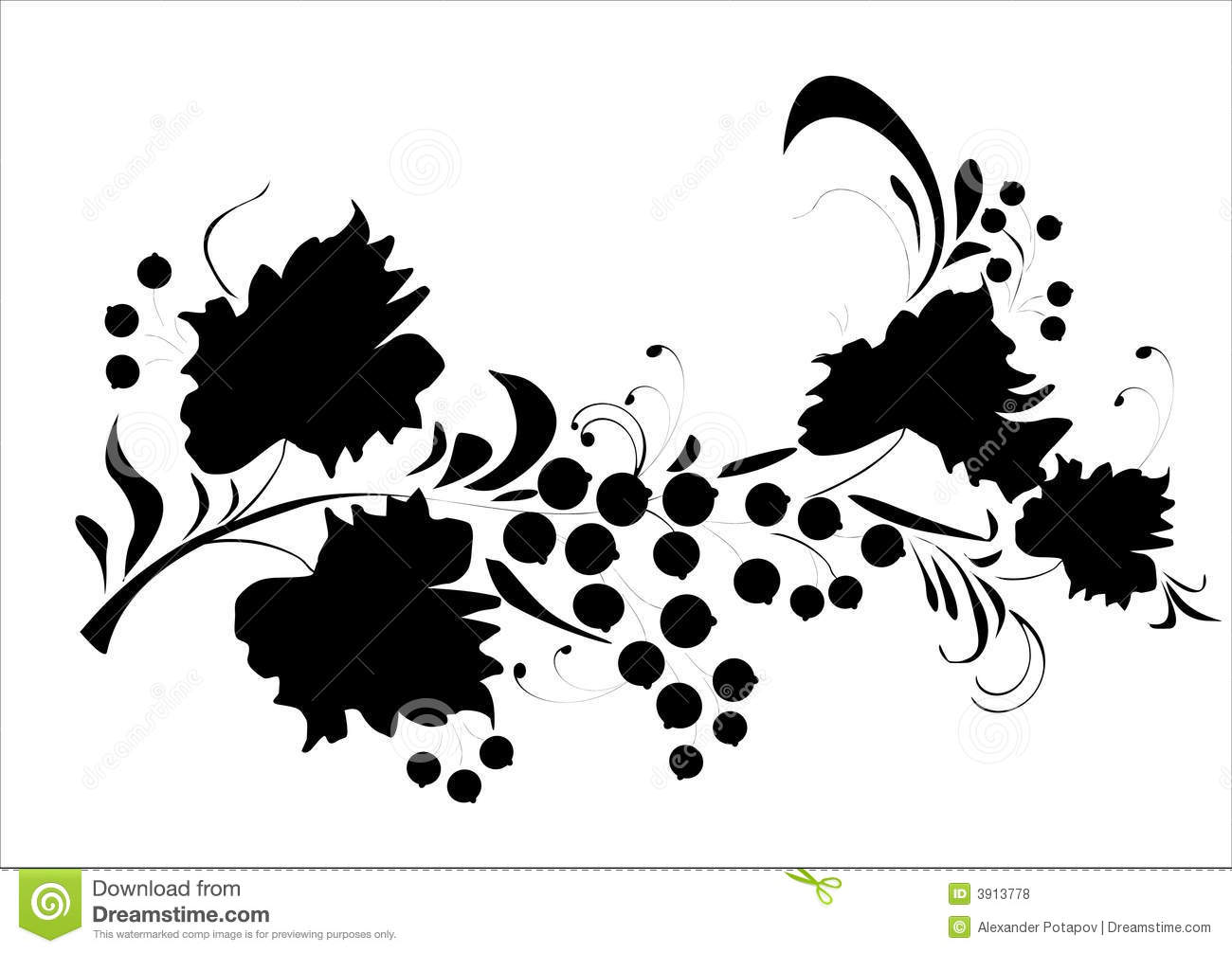 foliage and berries silhouette stock vector image 3913778
