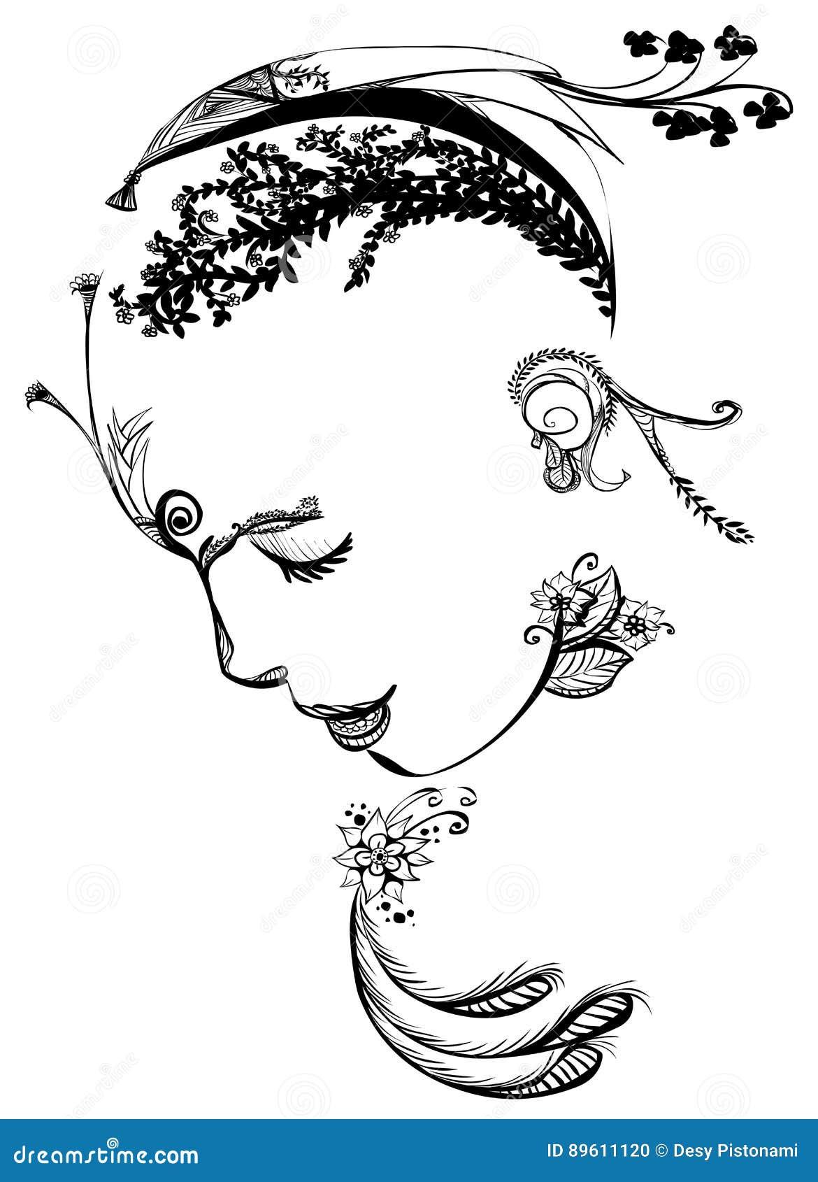 Foliage Face Stock Illustrations