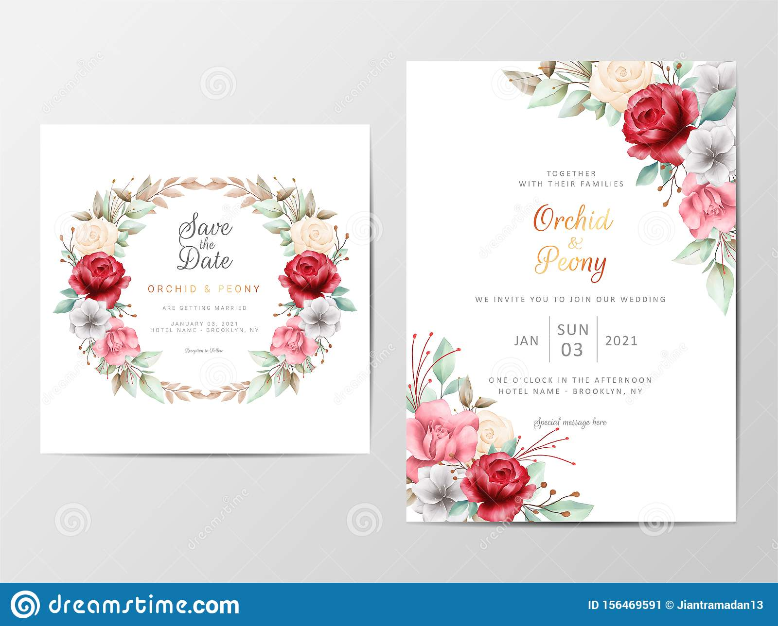 Foliage Wedding Invitation Cards Template With Watercolor