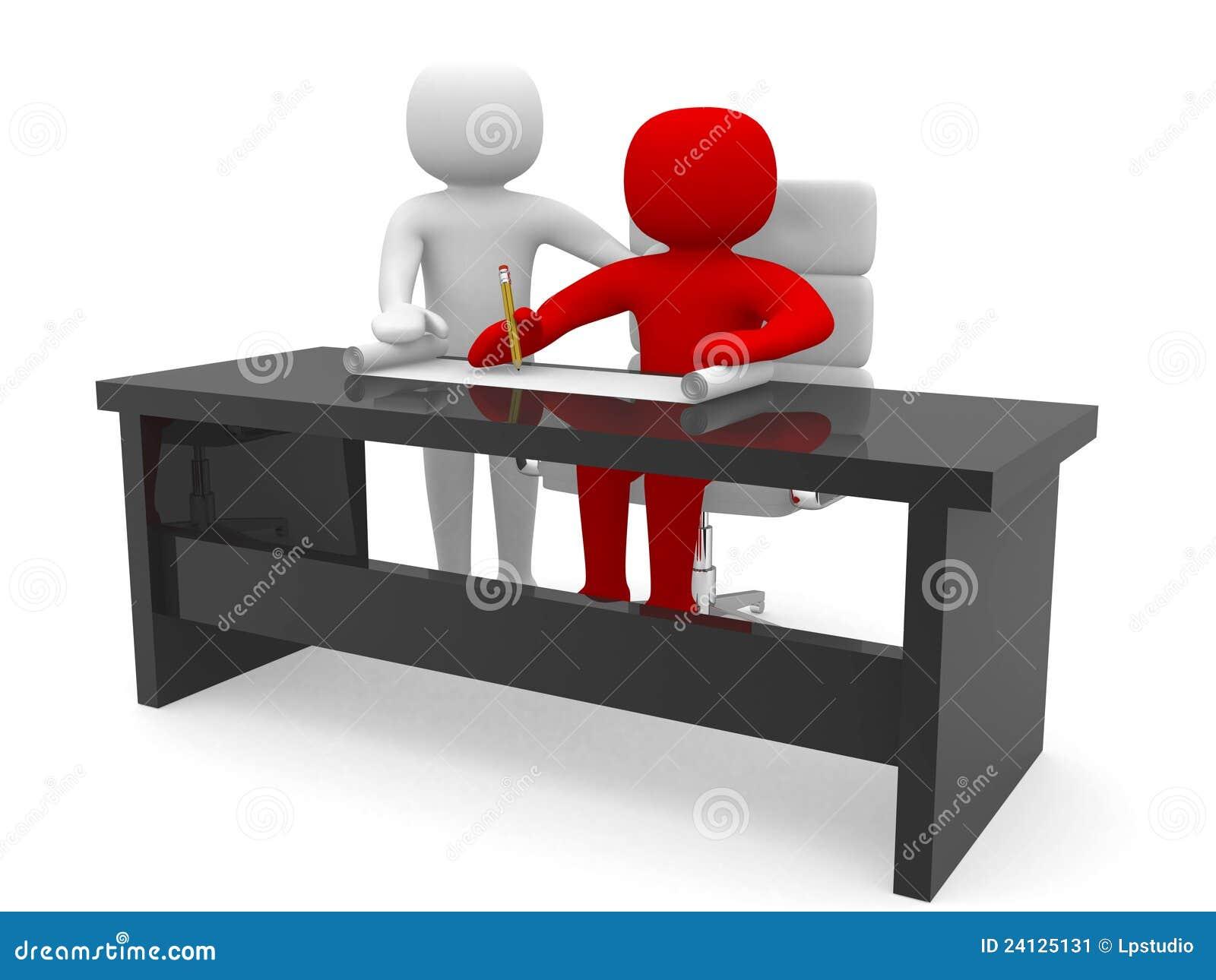 Folk 3d - manar och ett kontor med arbetet formulerar.