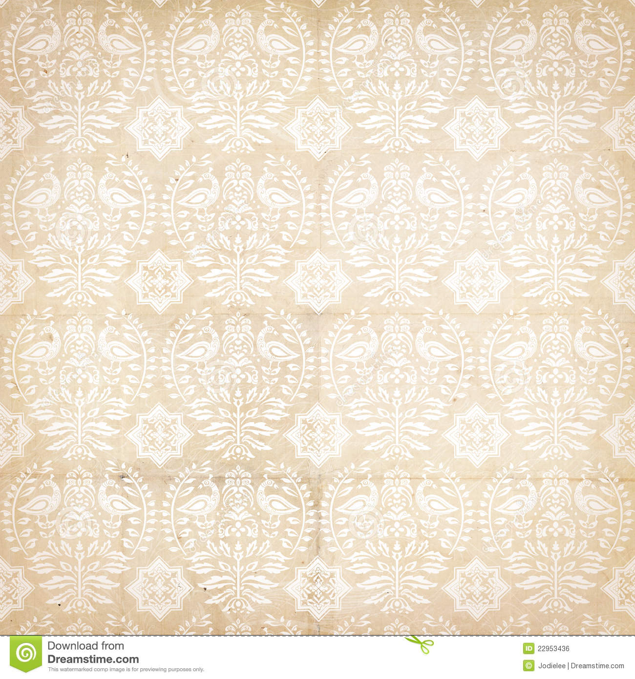 Folk antique vintage damask pattern with bird