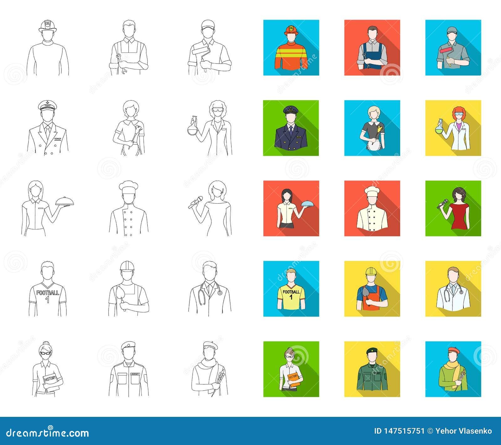 Folk av den olika yrke?versikten, plana symboler i den fastst?llda samlingen f?r design Arbetar- och specialistvektorsymbol