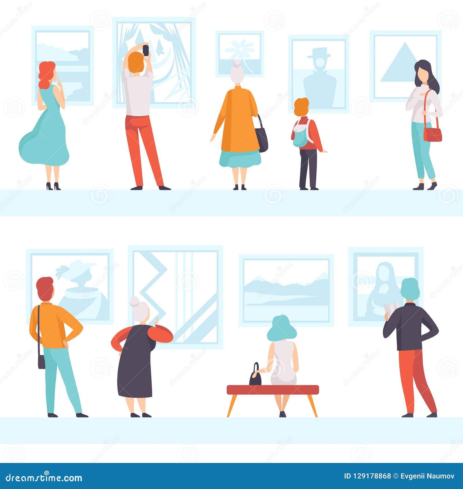Folk av olika åldrar som ser bilderna som hänger på väggen, utställningbesökare som beskådar museumutställningar på konst