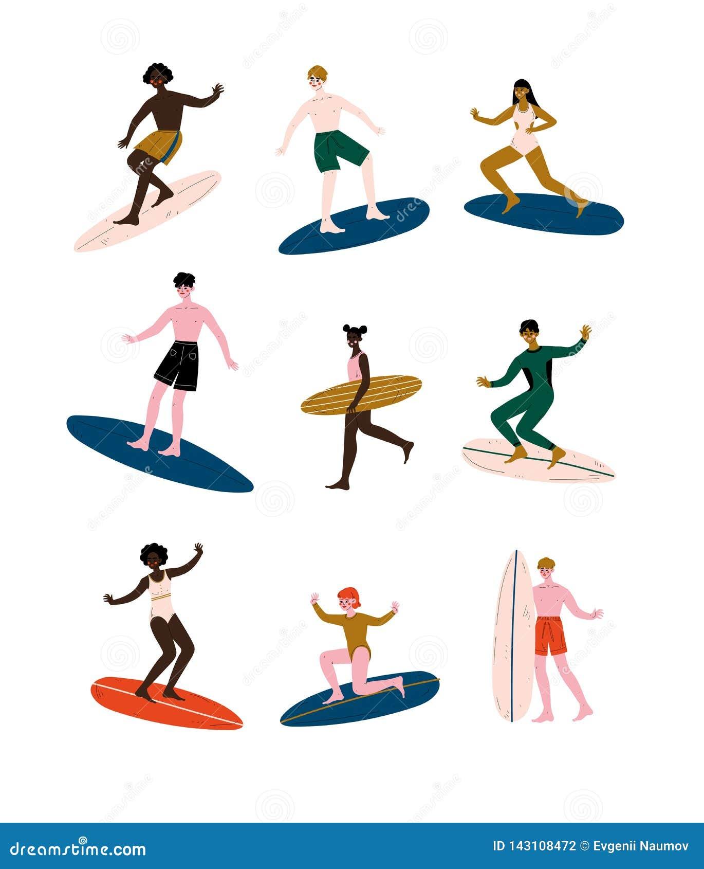 Folk av olika nationaliteter som rider surfingbrädor uppsättning, man och kvinnliga surfare som tycker om sommarsemester på havet