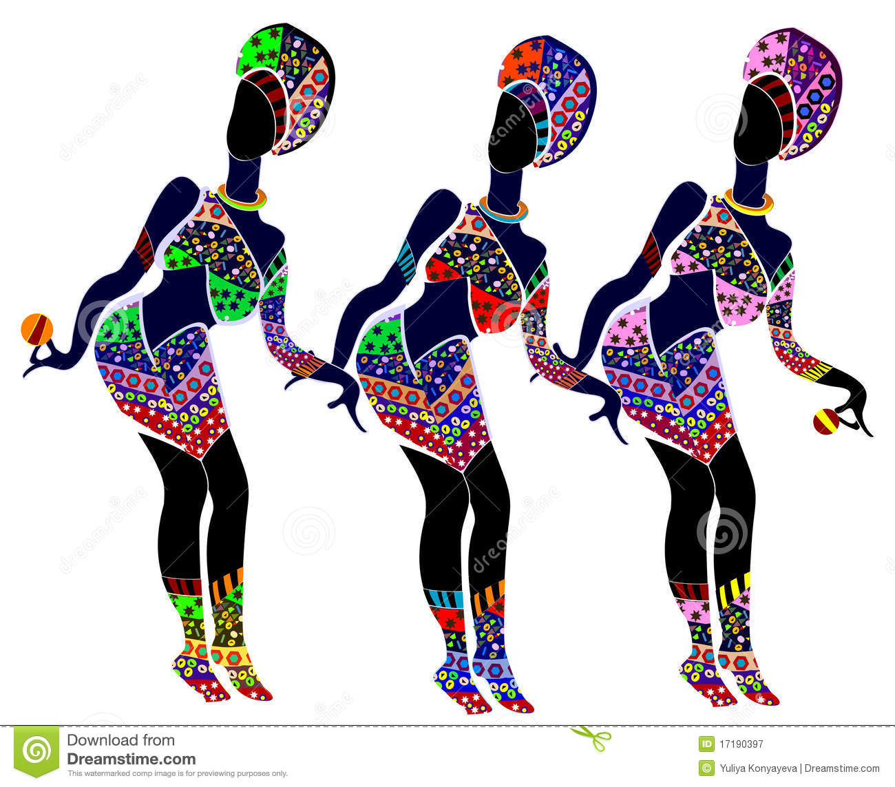 ... patterned women dance their interesting dance on a white background