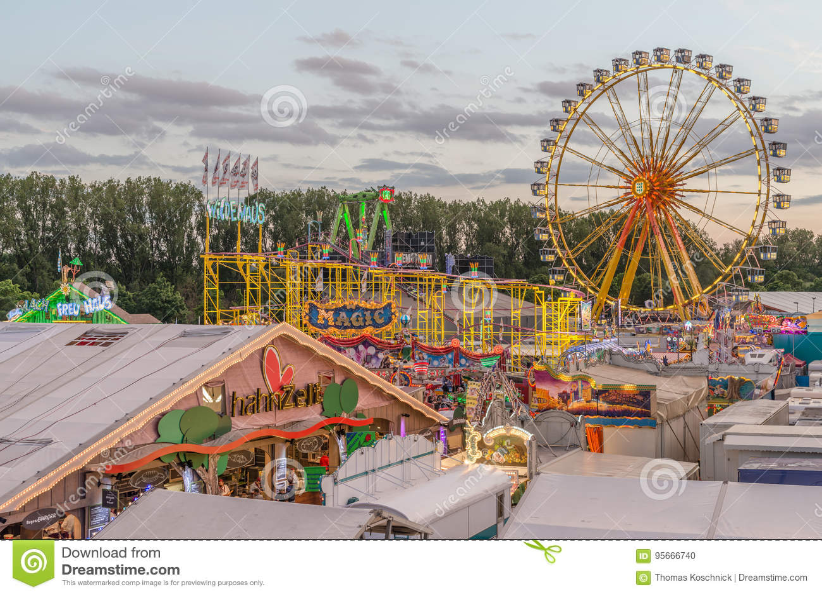 Folk festival in Regensburg with beer tent joyride and ferris wheel
