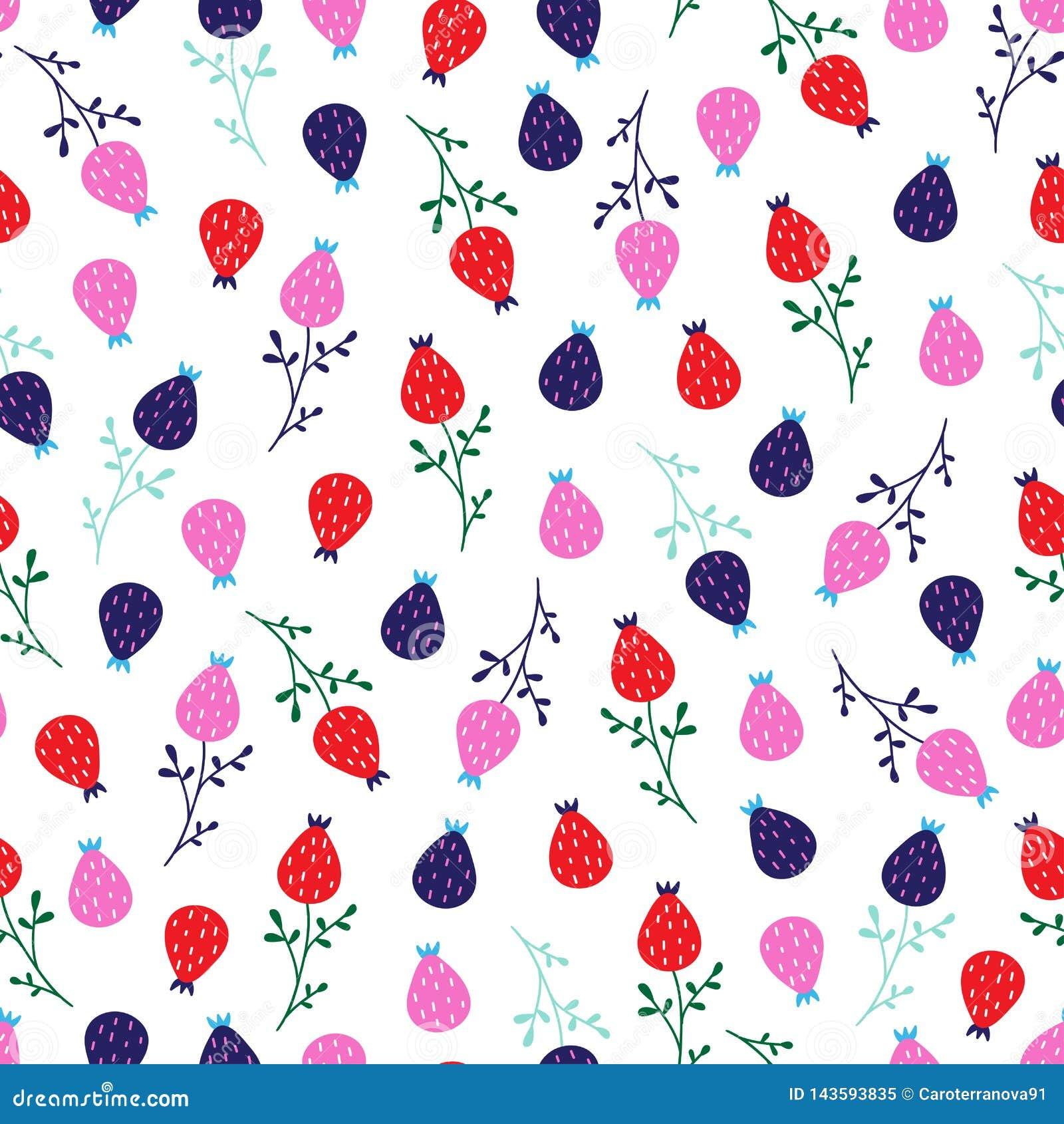 Seamless cute little floral pattern in scandinavian folk style vector.