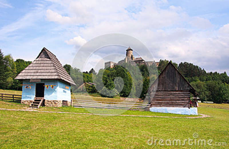 A folk houses and castle in Stara Lubovna