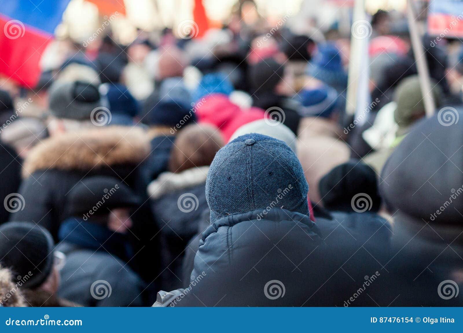 Folk i folkmassan på en protest
