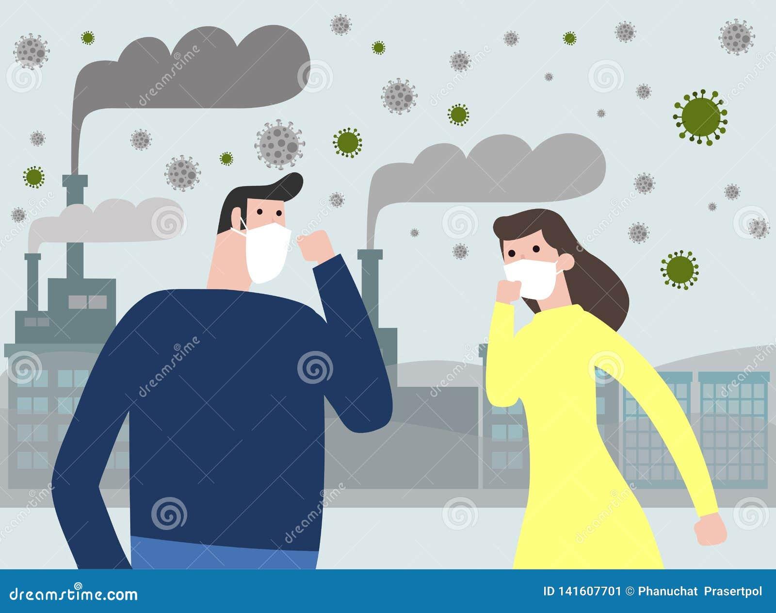 Folk i maskeringar på grund av fint damm e.m. 2 bärande maskering för 5, för man och för kvinna mot smog Fint damm, luftförorenin