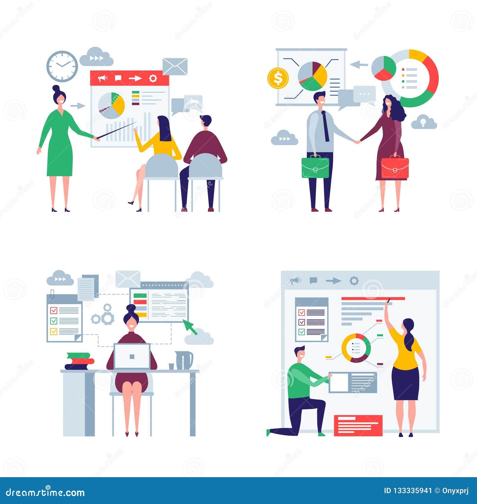 Folk i storformat för affär Plana tecken för man och för kvinnlig vektor för lag för affär för arbetare för direktörer för kontor