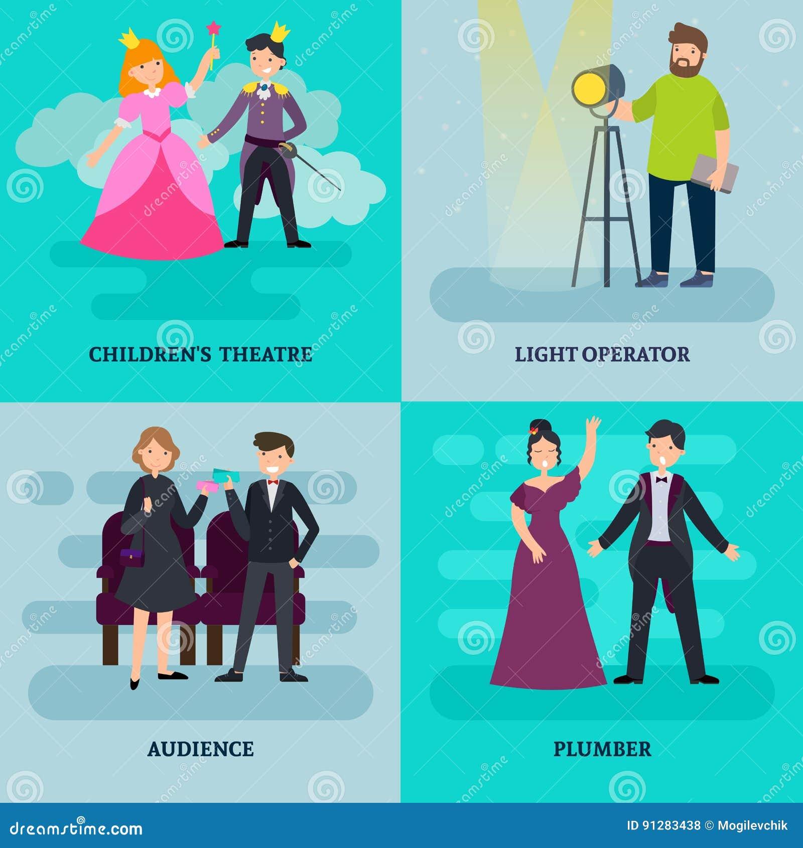 Folk i teaterfyrkantsammansättning