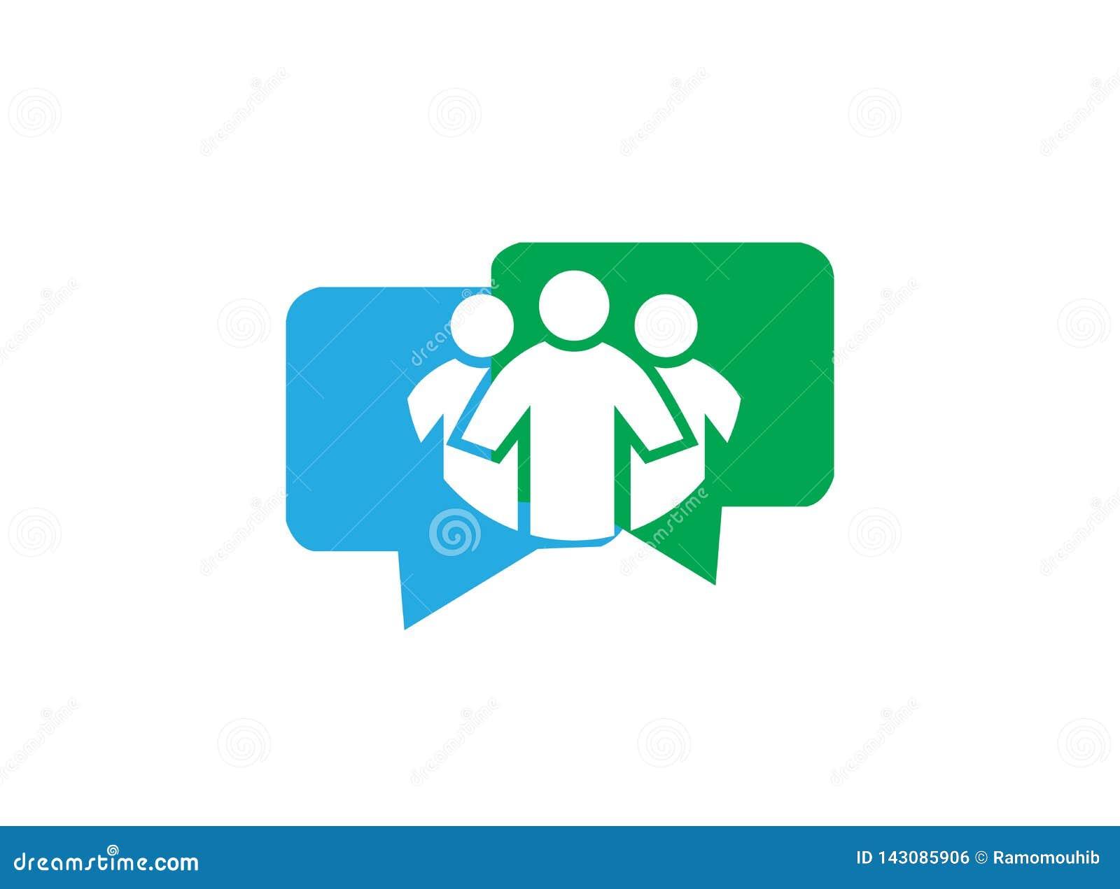 Folk inom pratstundkommunikationssymbol och kundtjänst för logodesign