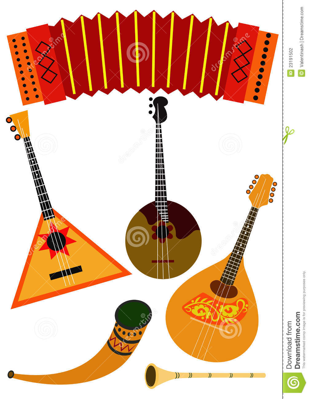 Accordion, balalaika, domra, mandolin, horn, flute isolated on white ...