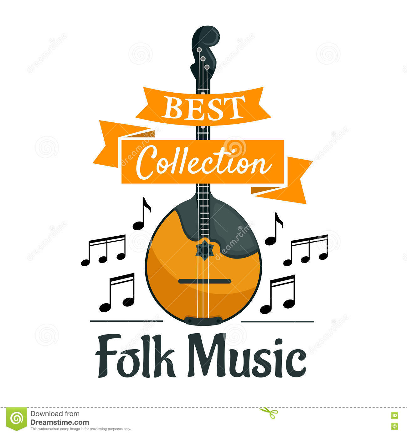 Folk Music Symbol With Ethnic Musical Instrument Stock Vector