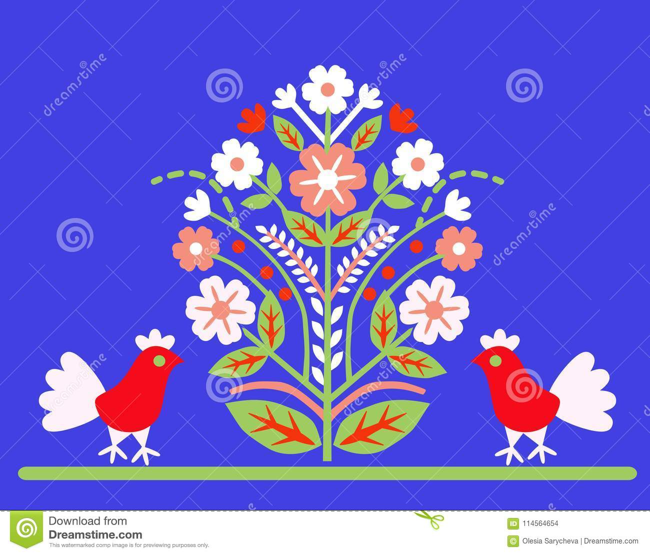 Ornament `Tree of Life` with two birds on a blue background.