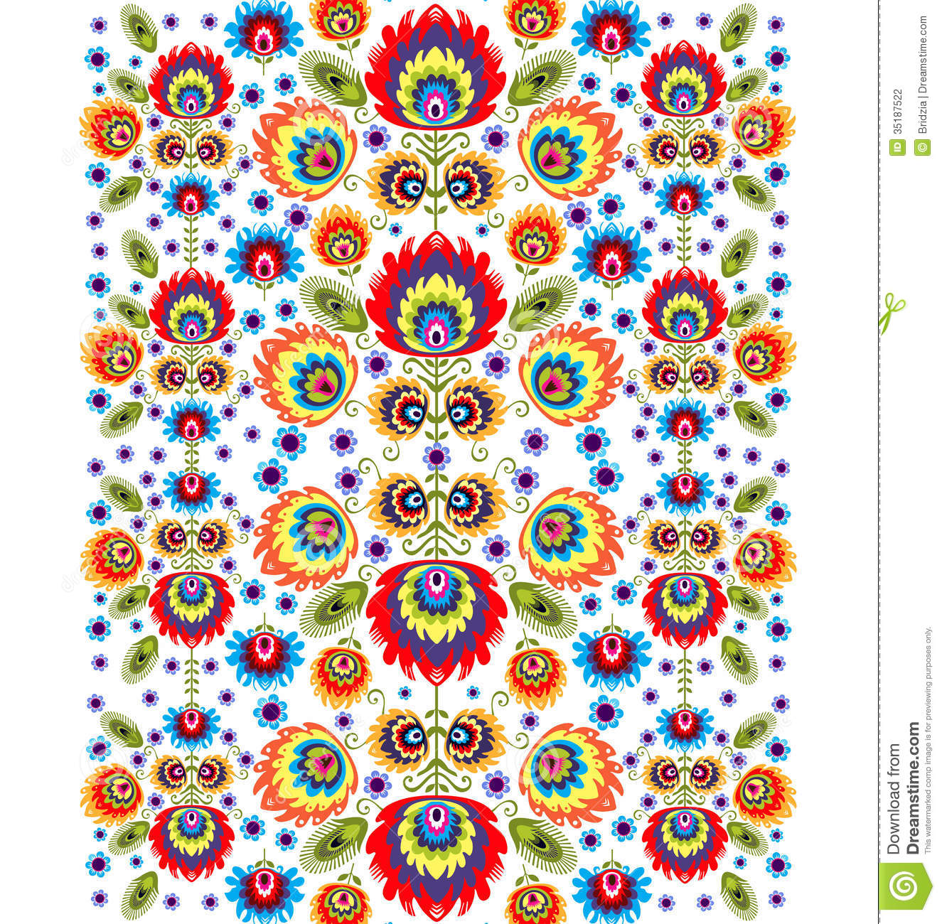Folk pattern with flowers three stock photography image 35187522