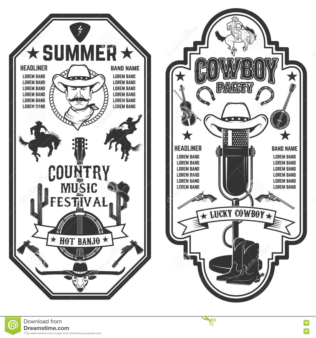 Folk Rock Party  Summer Country Music Festival Flyer