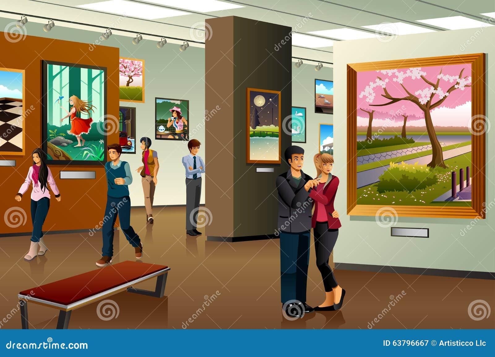 Folk som besöker en Art Gallery