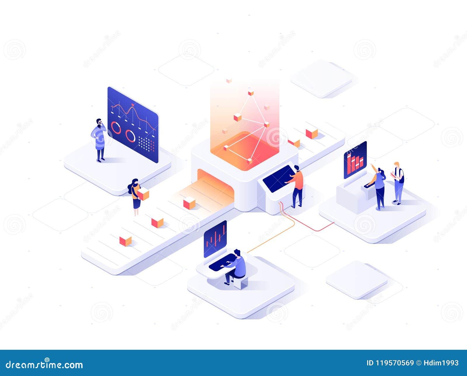 Folk som påverkar varandra med diagram och analyserar statistik Datavisualisationbegrepp isometrisk illustration för vektor 3d