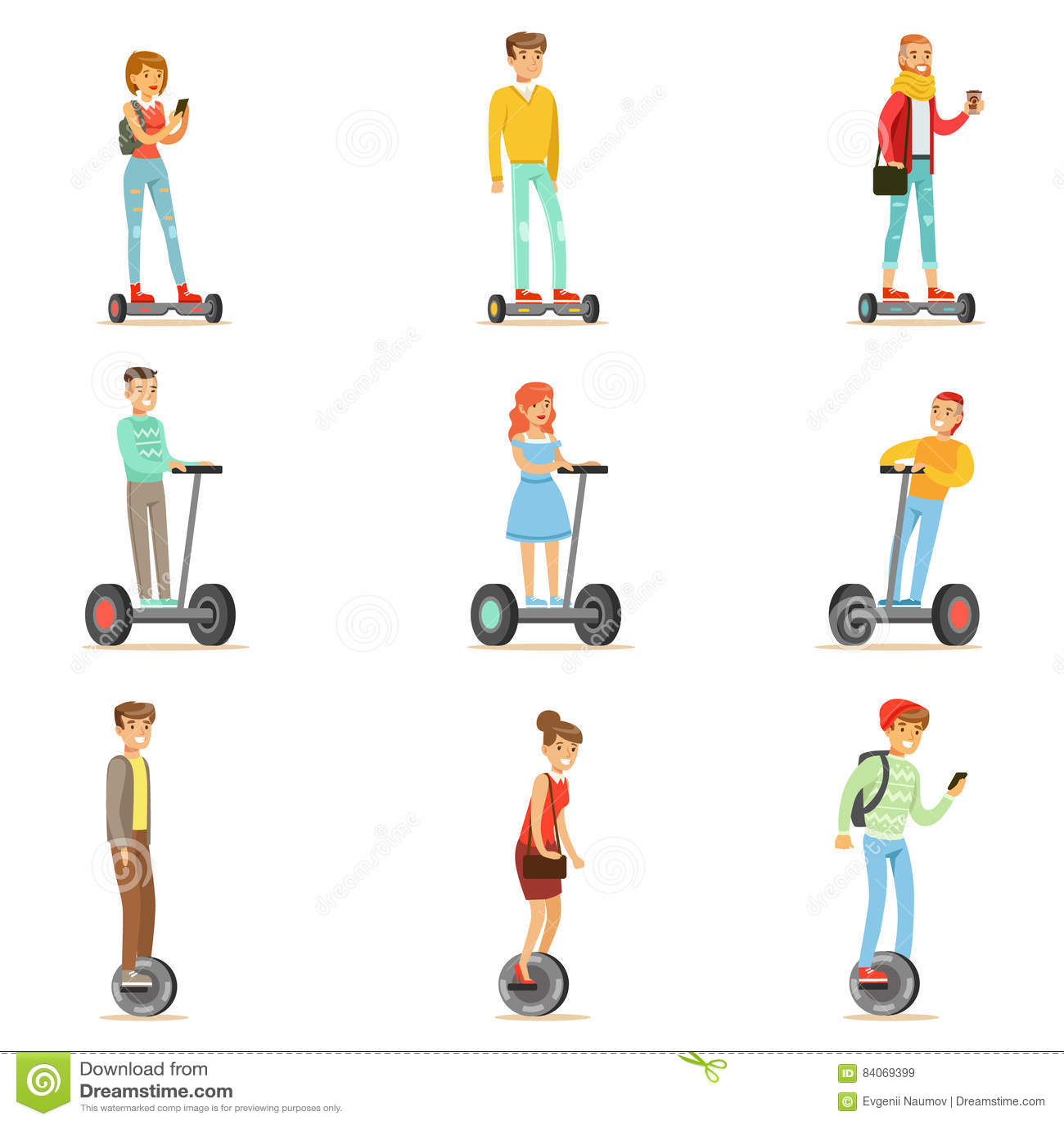 Folk som rider Själv-balansera Batery Poweres för elkraft personliga elektriska sparkcyklar Whith en eller två hjul, uppsättning