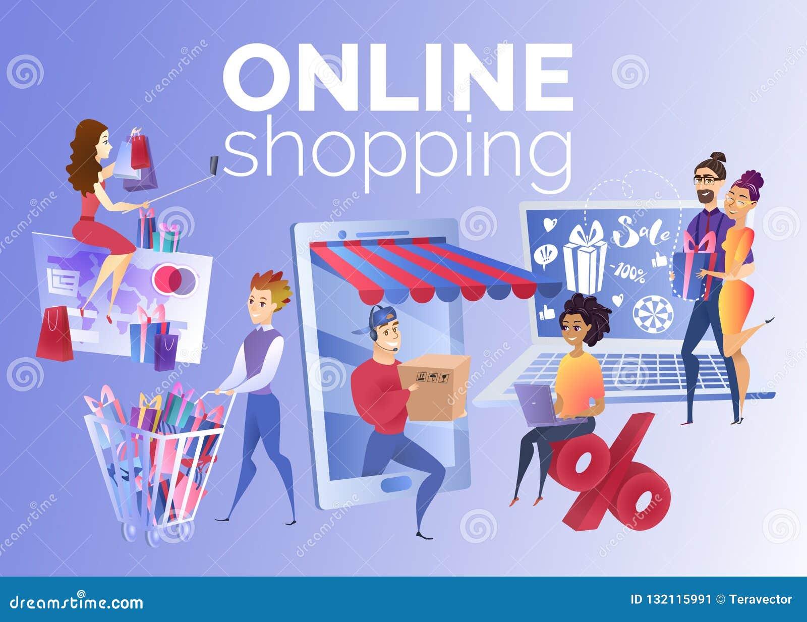 Folk som shoppar online-tecknad filmvektorbegrepp