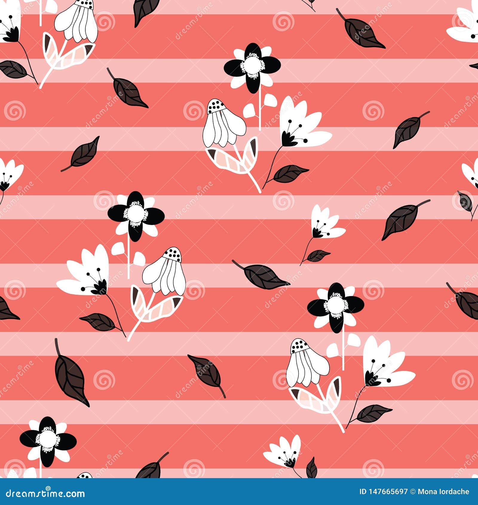 Folk svartvita blommor på seameless repetition för rosa färger och för randig bakgrund för korall
