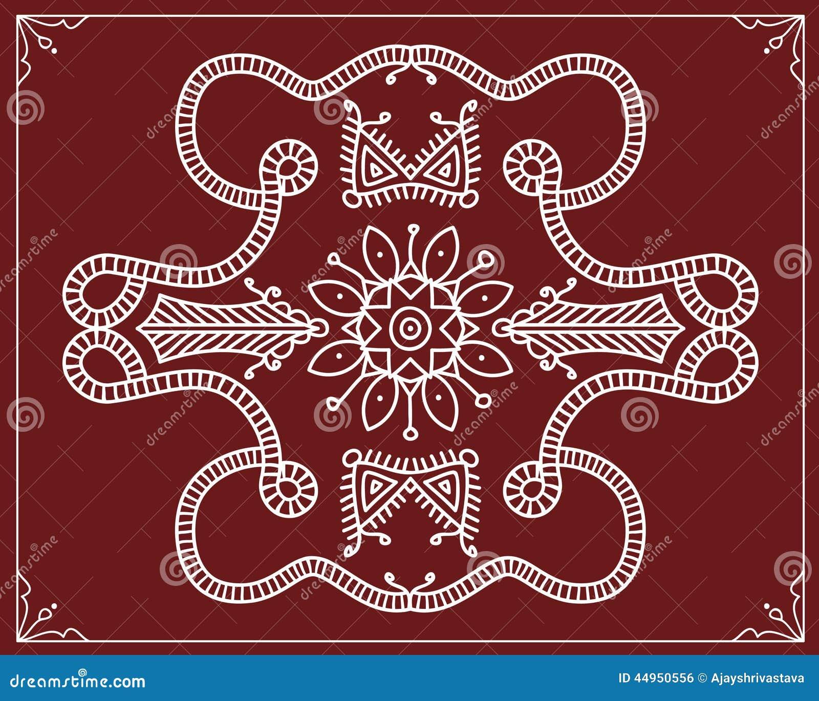 folk tribal design motif wall painting stock vector image 44950556. Black Bedroom Furniture Sets. Home Design Ideas