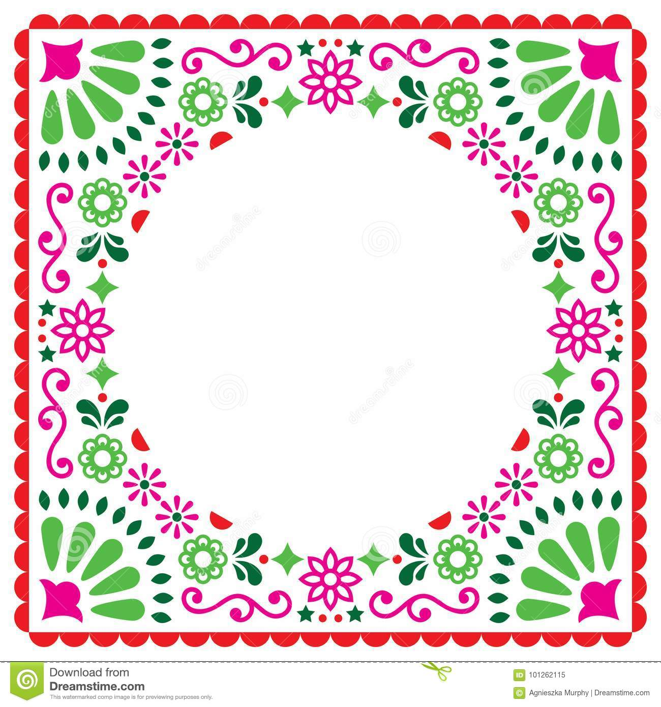 Folk Vector Greeting Card, Mexican Style Wedding Or Party Invitation ...