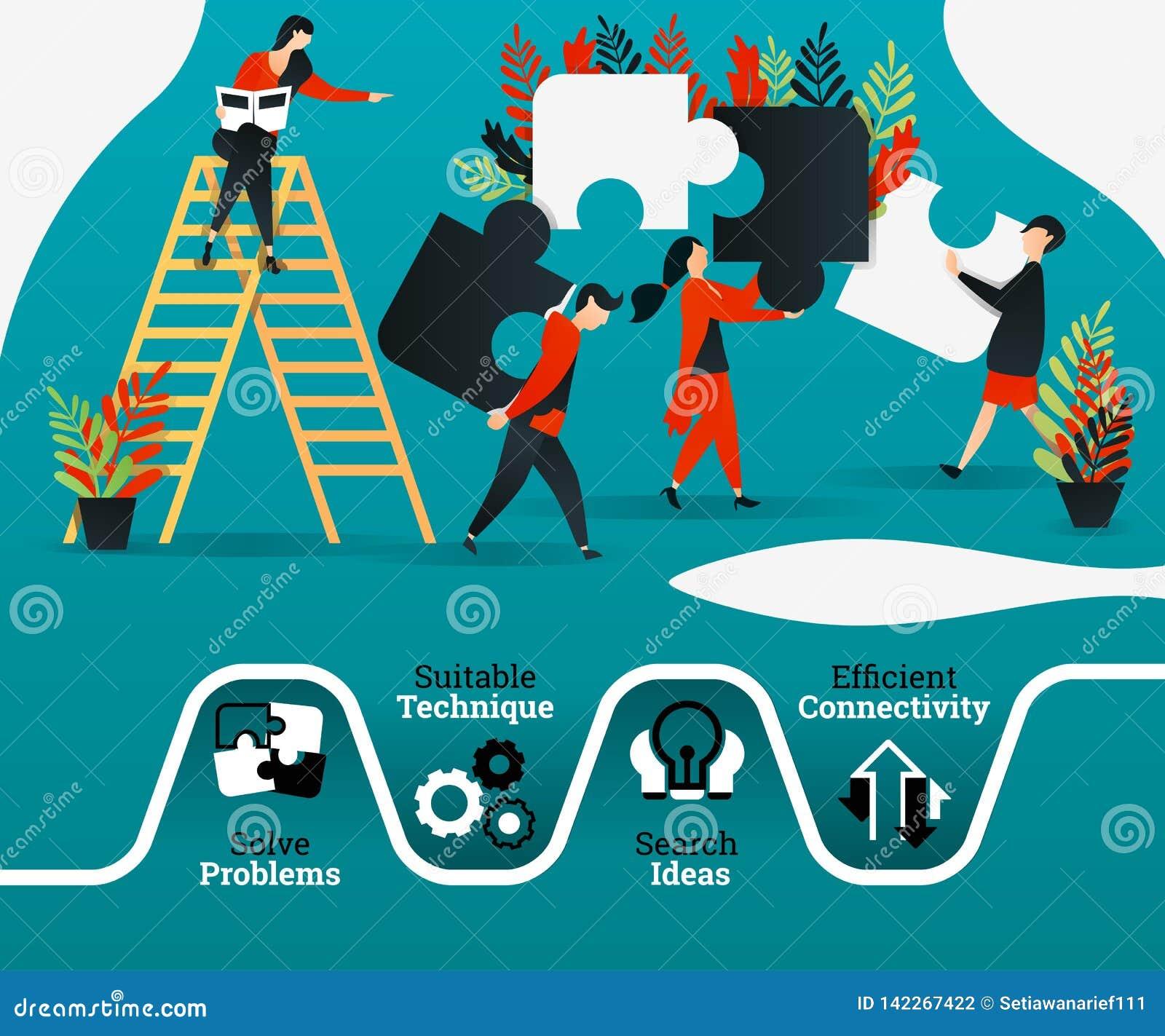 Folket öva teamwork, ledarskap, genom att ordna pusslet använda för och att landa sidan, kan mallen, uien, rengöringsduken, den m