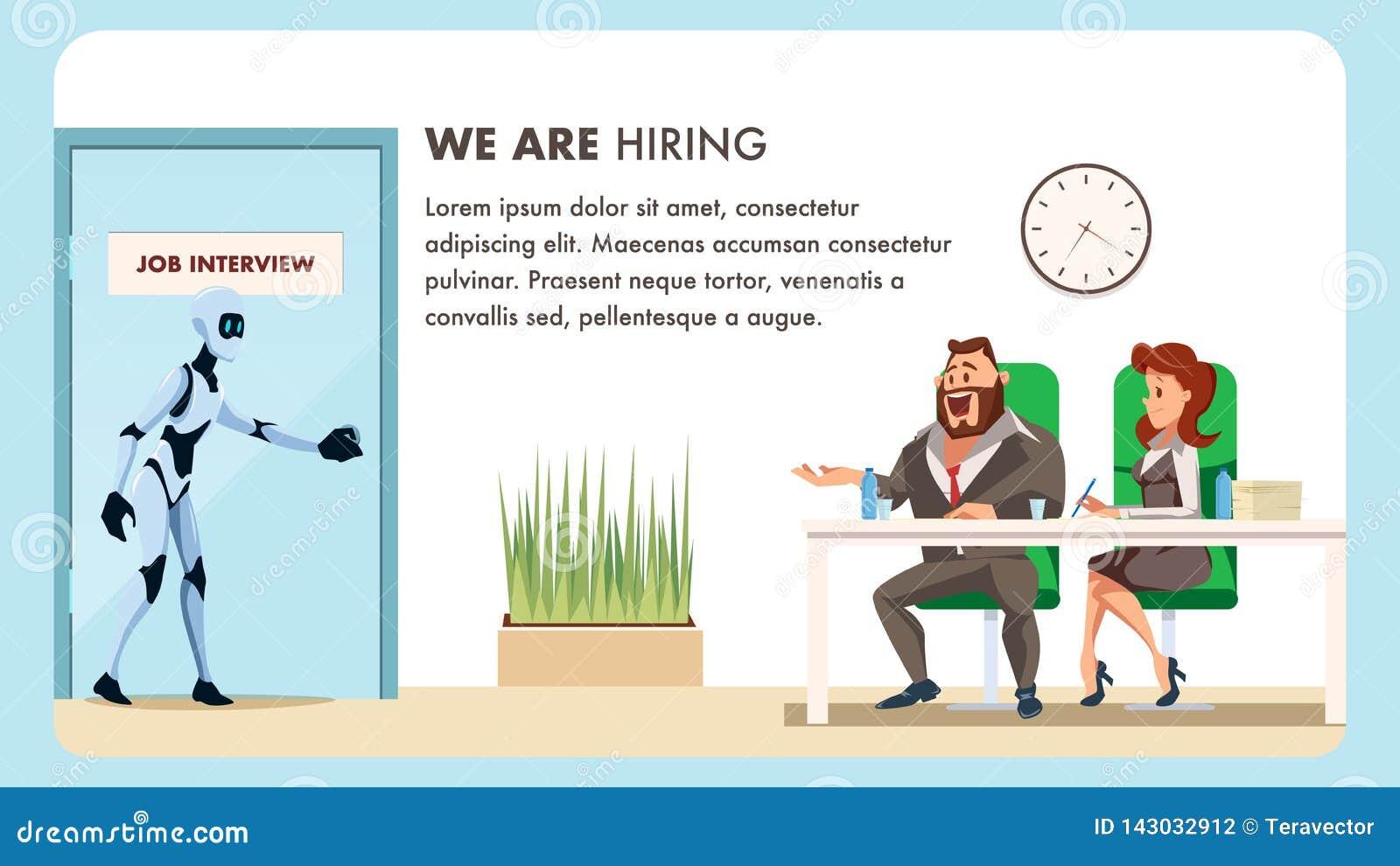 Folket gör jobbintervjun för manlig robotanställd