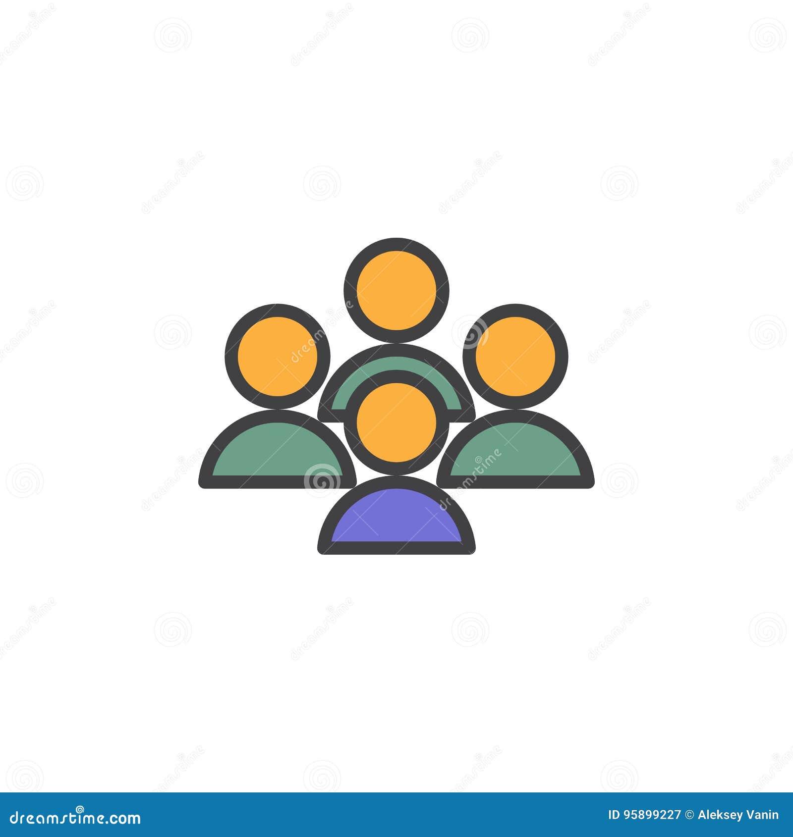 Folket konferens fyllde översiktssymbolen, linjen vektortecknet, linjär färgrik pictogram