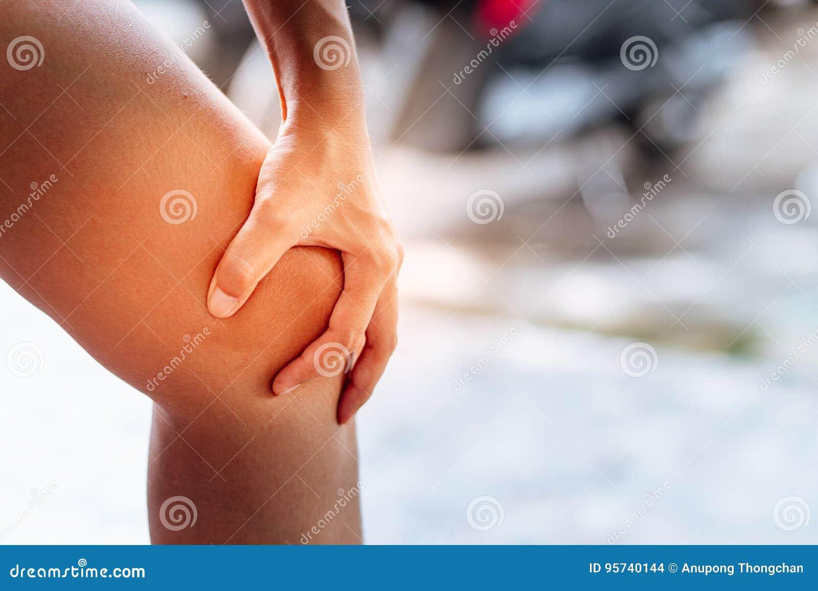 Folket med knäet smärtar och för mening dåliga handen