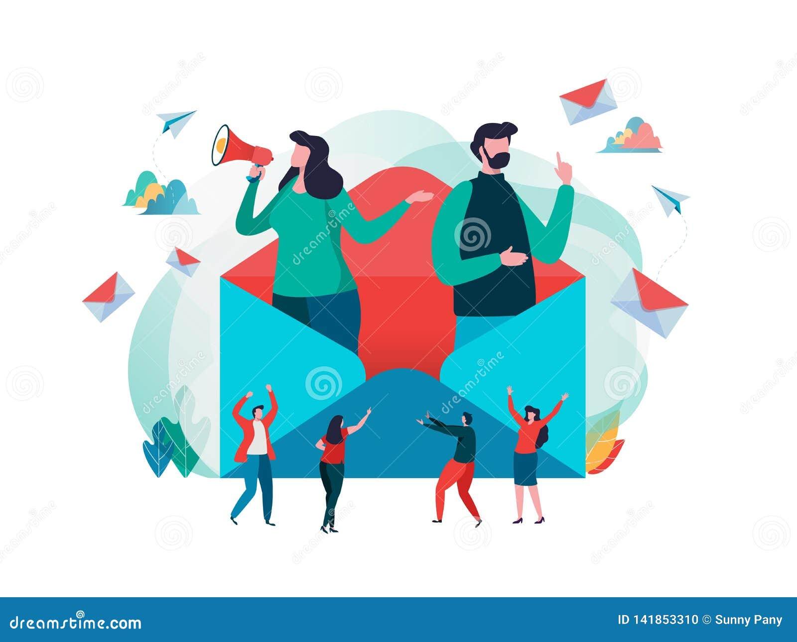 Folket rymmer post Arbetande process, nytt emailmeddelande, postmeddelande Socialt nätverk som pratar, läsningbokstav, nytt inkom
