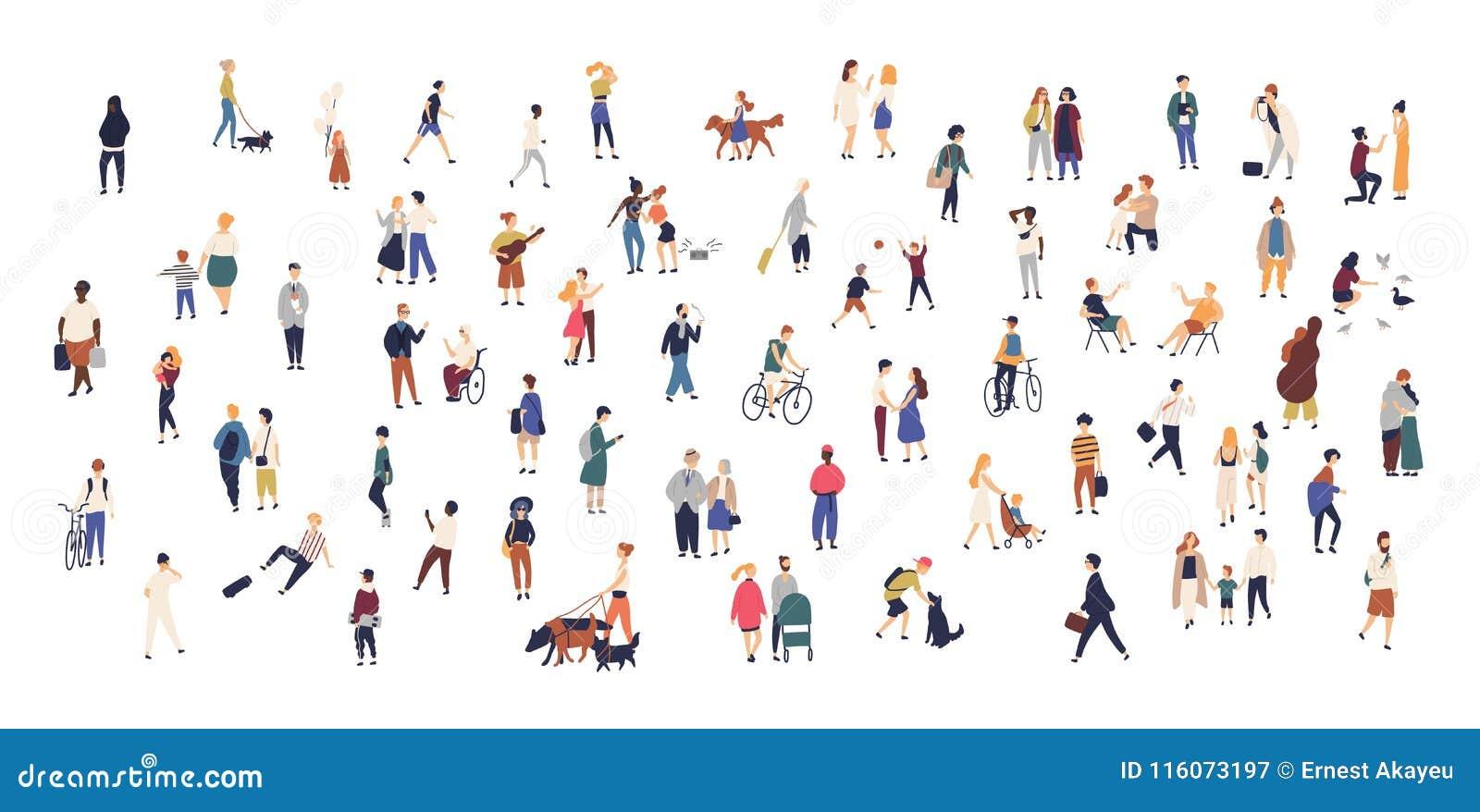 Folkmassa av mycket litet folk som går med barn eller hundkapplöpning som rider cyklar, anseende, samtal som kör Tecknad filmmän