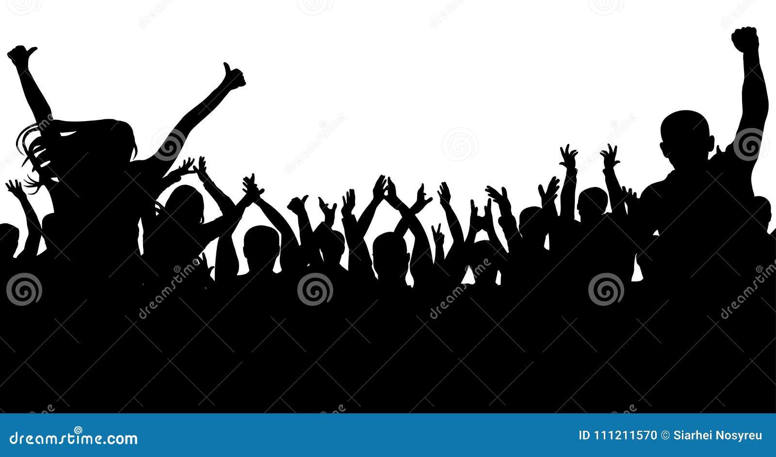Folla allegra della gente, siluetta Partito, applauso Concerto di ballo di fan, discoteca