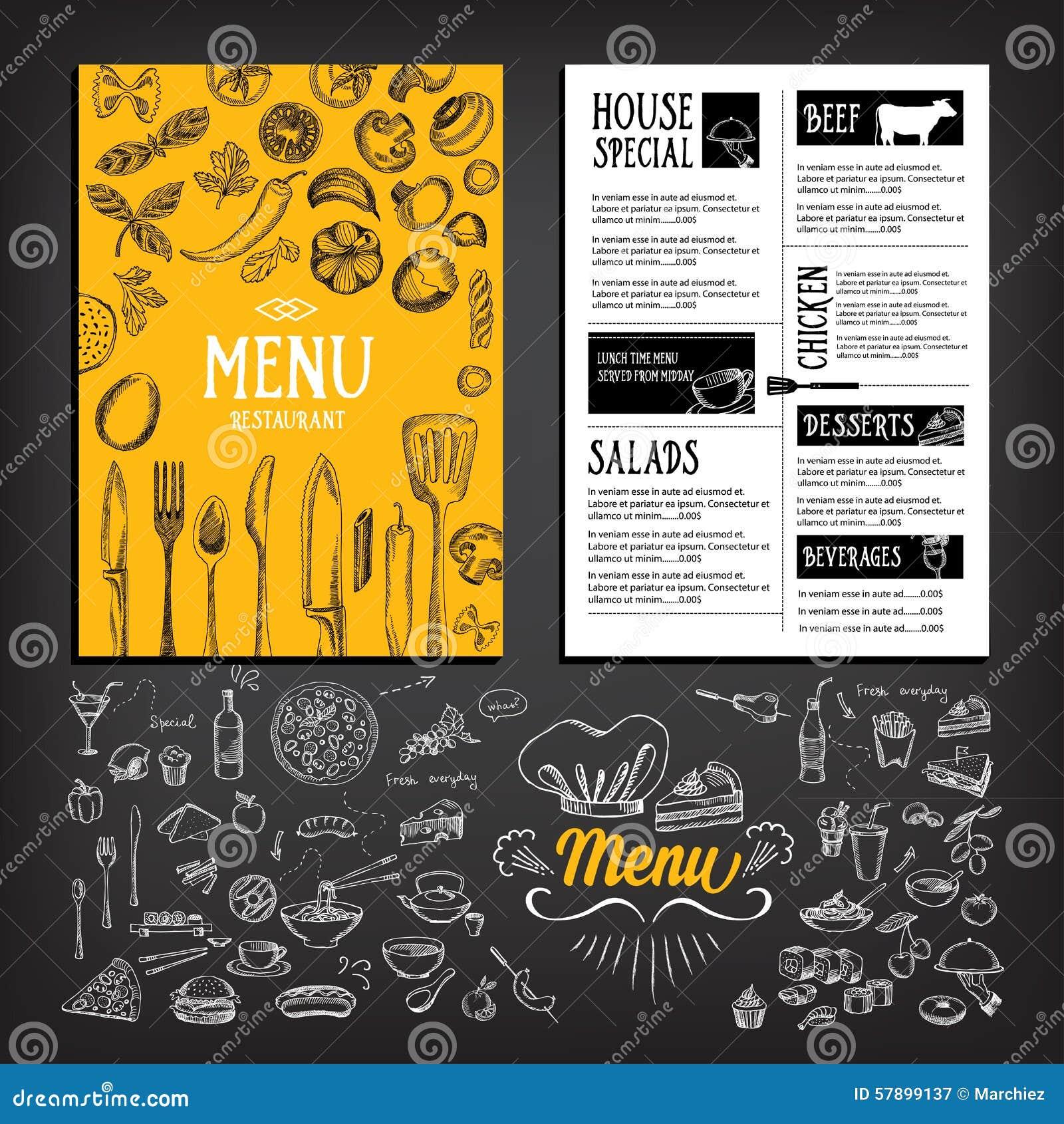 Folleto Del Restaurante Del Menú Del Café Plantilla Del Diseño De ...