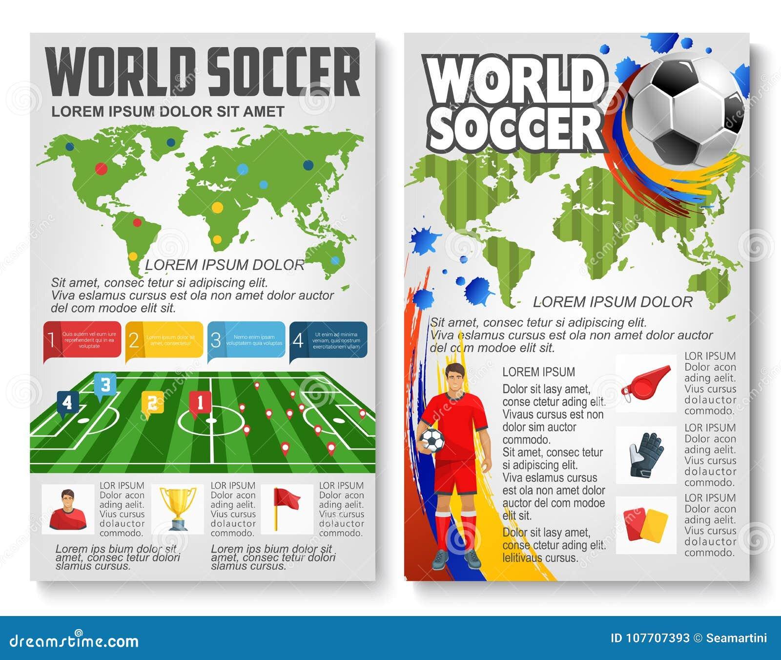 Folleto del vector para el partido de fútbol del fútbol del mundo
