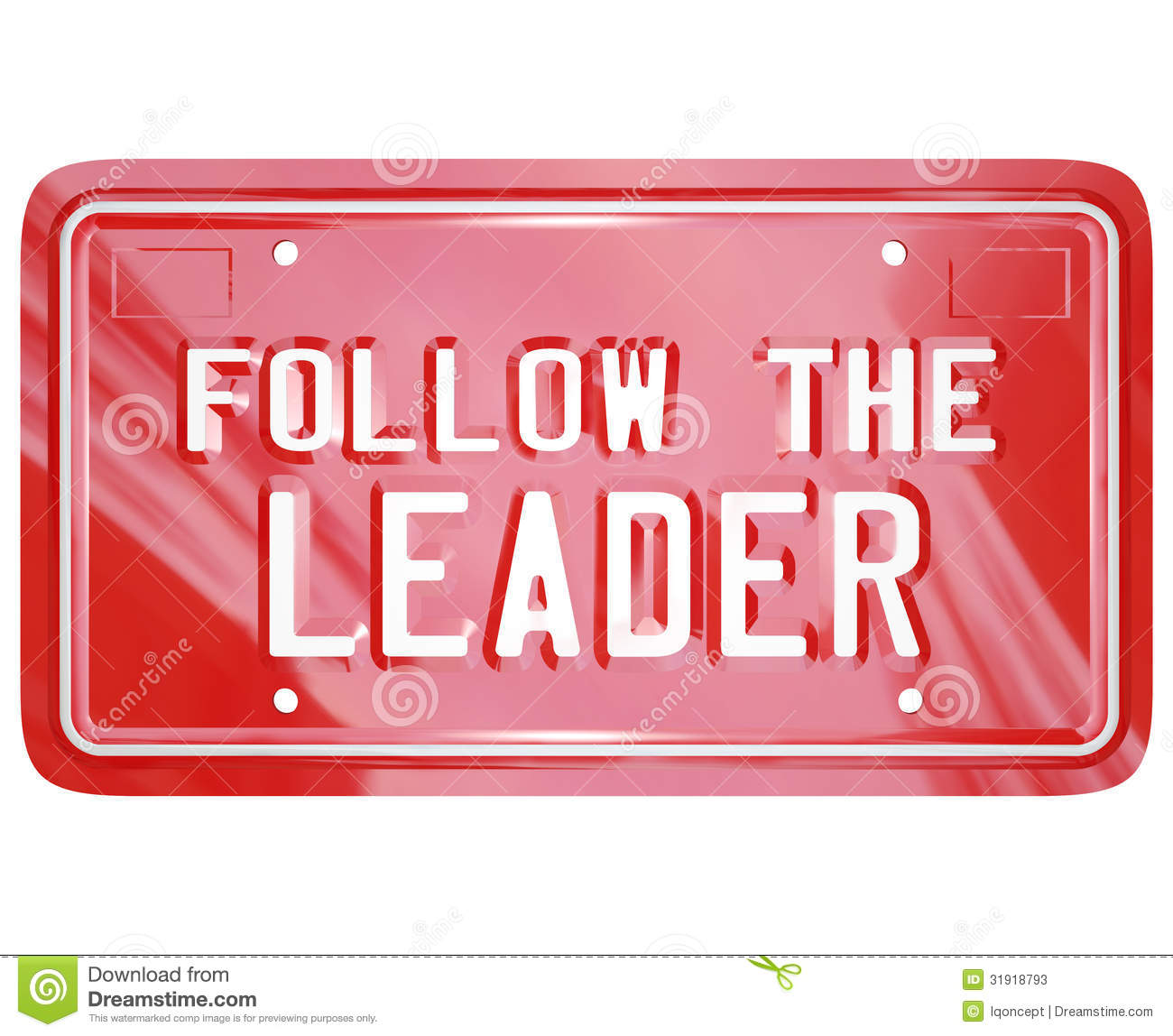 Follow The Leader Red Vanity License Plate Words Stock