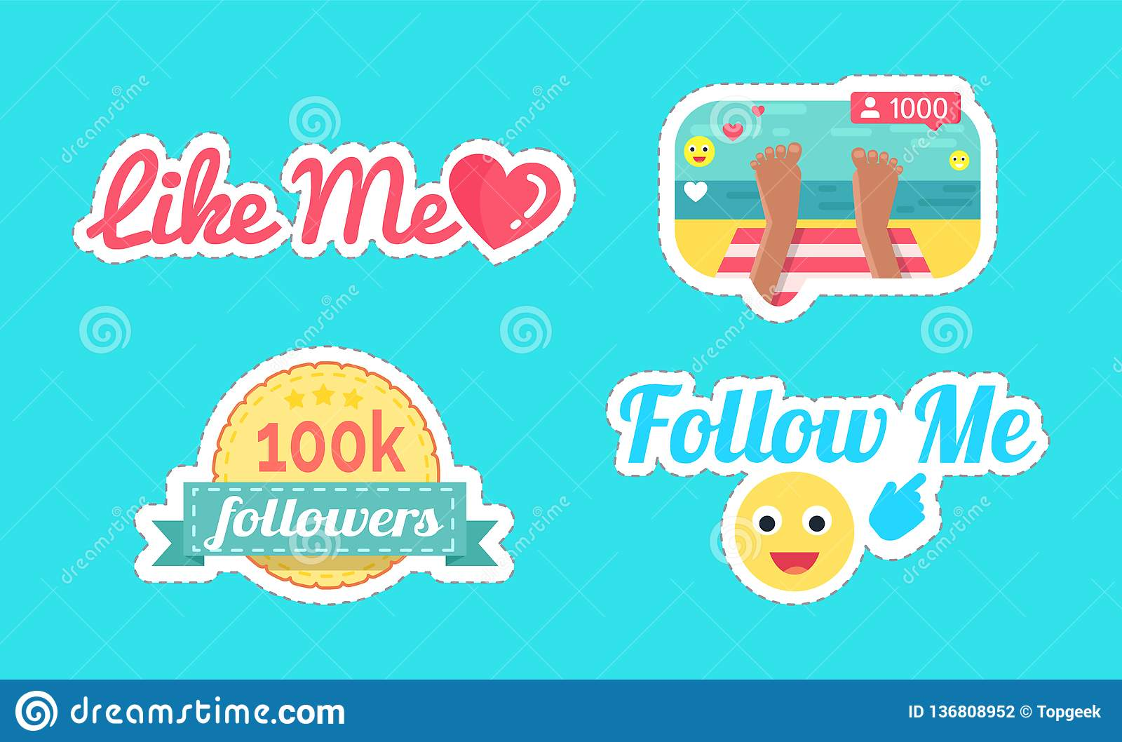 Follow and like me seaside set stickers vector stock vector