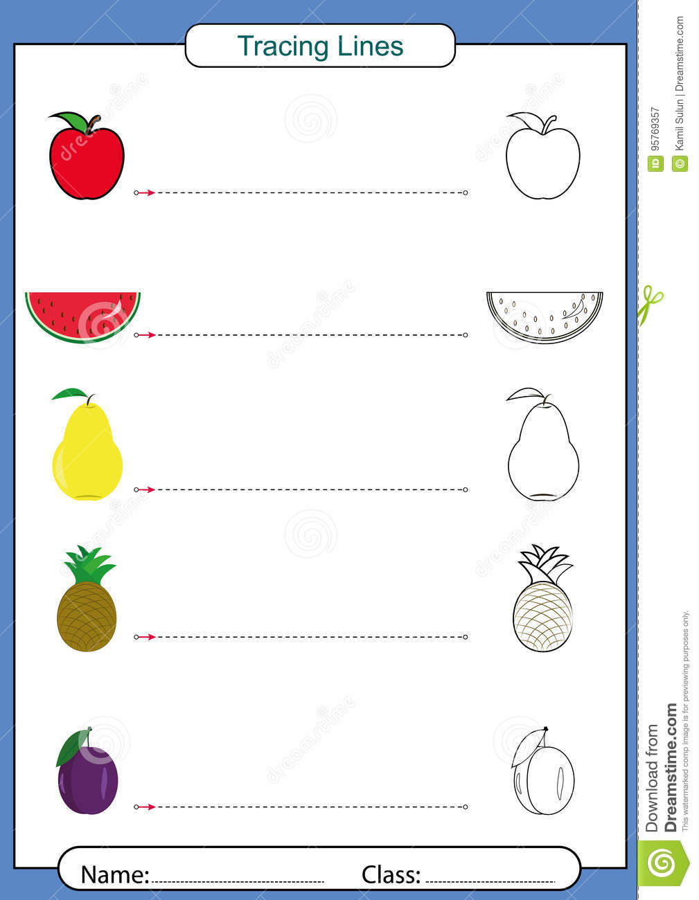 Follow The Lines With Your Pencil Worksheet Stock