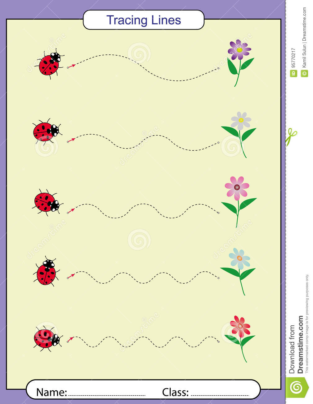 Follow The Lines With Your Pencilsheet Stock Vector