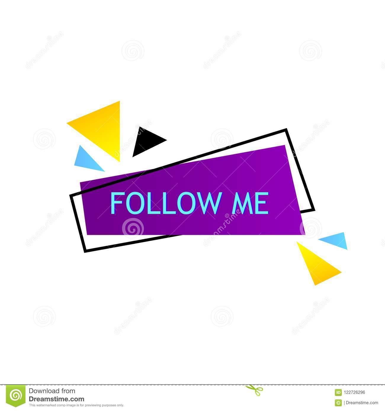 follow me on bright background with random items template for social