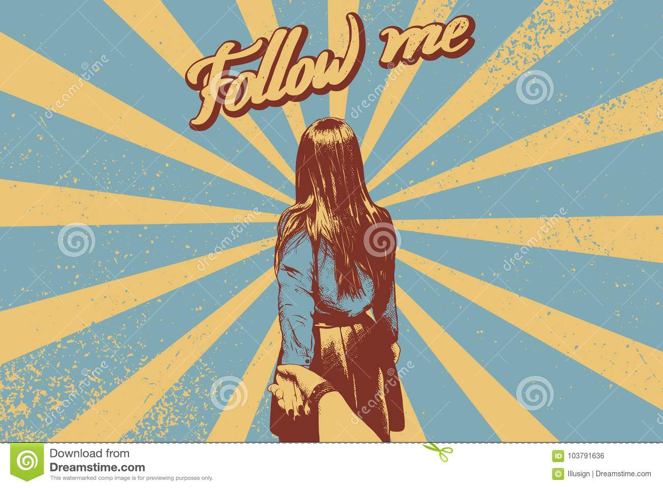 Follow me lettering. Woman leads man by the hand. Grunge retro vector illustration.