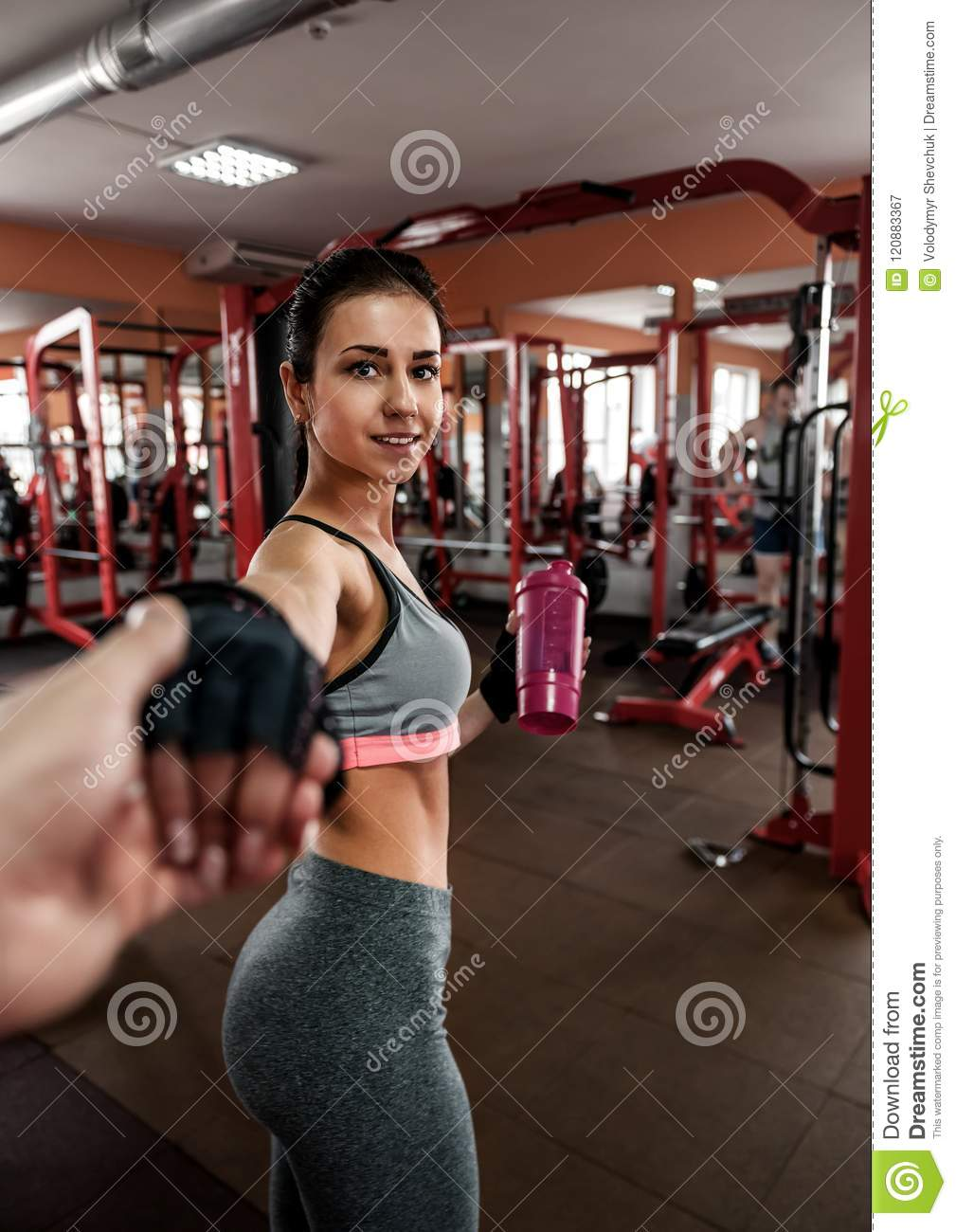 3b3bbeffd Follow Me With Beautiful Girl In The Gym Stock Image - Image of ...