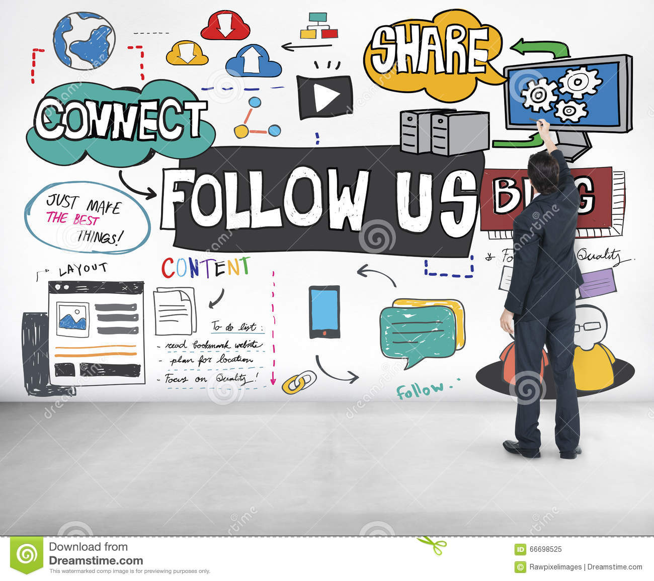 Follow us Social Media Blog Online Concept