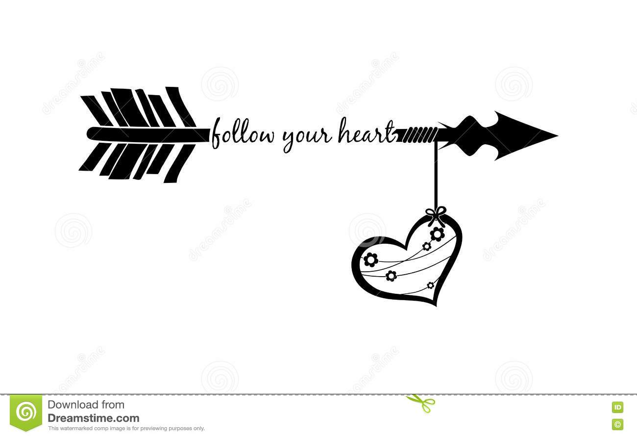 Pics photos heart black wallpaper romantic love pictures - Follow Your Heart With Arrow Silhouette And Decorated