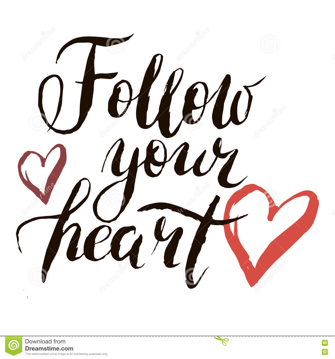 Lettering Follow Your Heart With Footprints Royalty