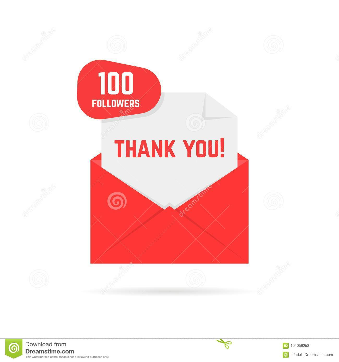 100 Followers Thank You Card Stock Vector Illustration Of Person