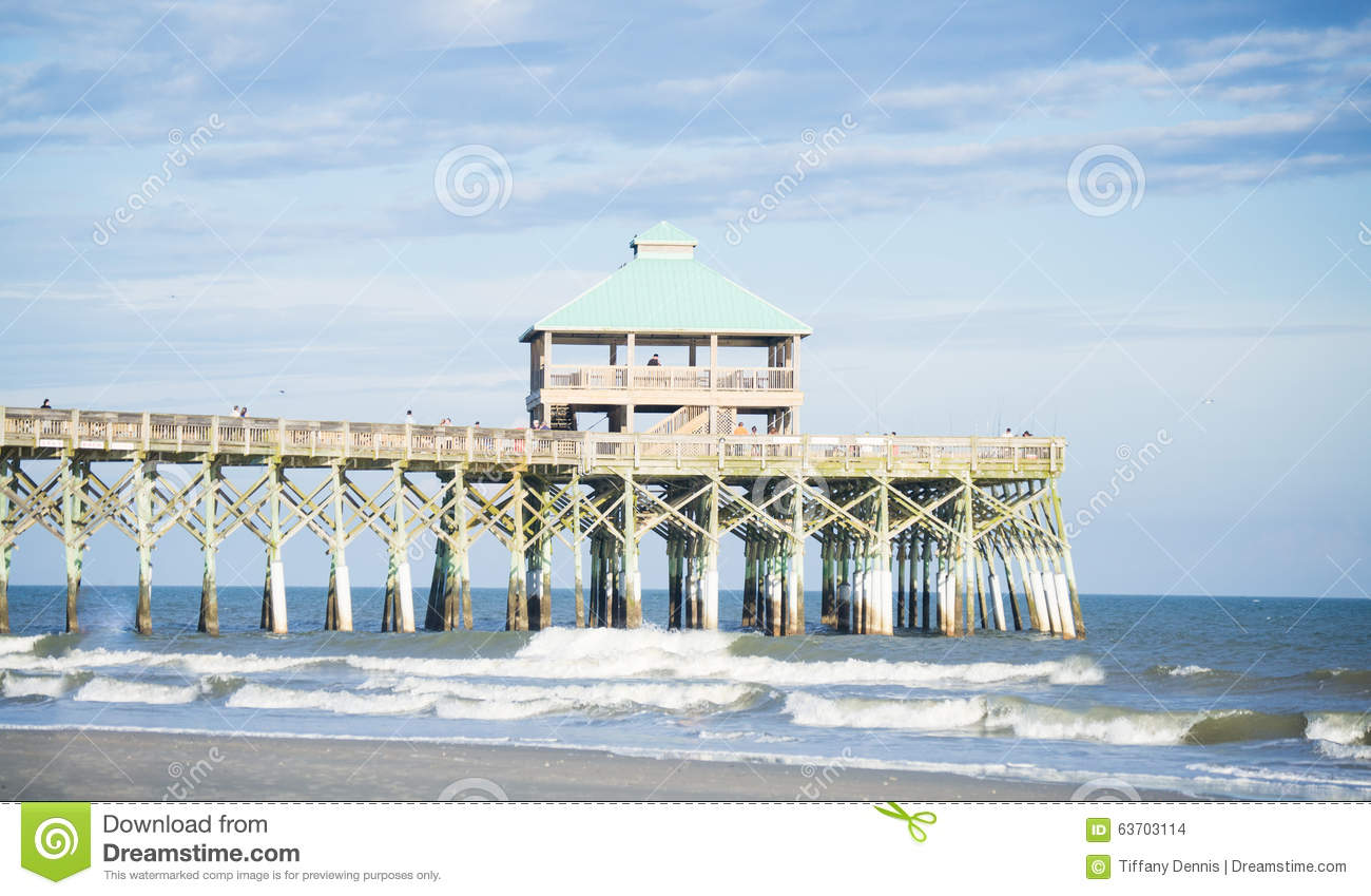 Folly Beach Pier stock photo  Image of famous, clouds - 63703114
